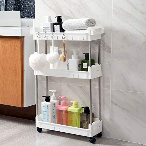 3 Tier Slim Storage Cart Mobile Shelving Unit Slide Out Storage Tower for Kitchen Bathroom Laundry Room Narrow Places(White)