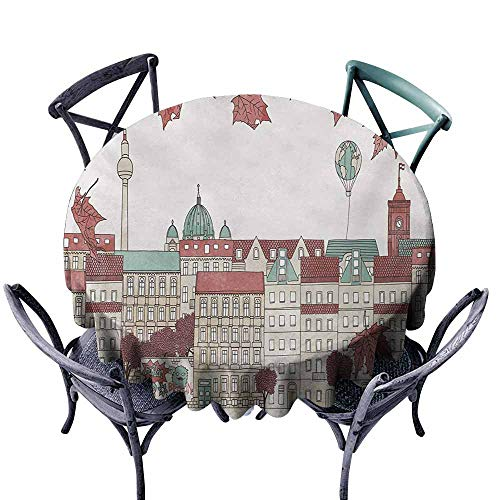 (VIVIDX Spill-Proof Table Cover,German,Autumn in Berlin Colorful Hand Drawn Illustration of The Capital City of Germany,Table Cover for Kitchen Dinning Tabletop Decoratio,55)