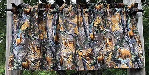 Drapes Pocket Rod Lodge (Handcrafted Curtain Valance Sewn From Realtree Bear Deer Turkey Elk Fish Fabric)