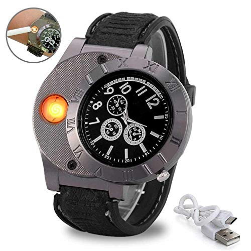 atch Wristwatch Electronic Rechargeable Windproof Flameless Cigar Lighter for Men (Wrist Electronic Watch)