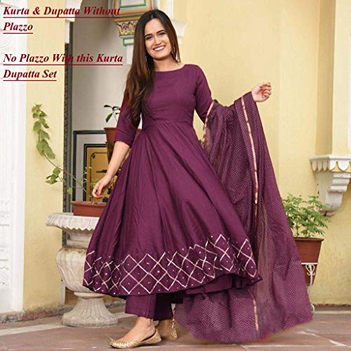 GoSriKi Women's Rayon Anarkali Kurta With Gold Printed Dupatta Discounts Junction