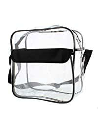 "Clear Purse, Large 12"" x 12"" x 6"", NFL Stadium Approved Bag with Zipper & Comfortable Shoulder Strap"