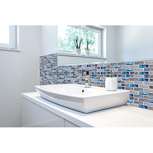 Kitchen Backsplash With Glass Tile Accents: Ocean Blue Glass Nature Stone Tile Kitchen Backsplash 3D