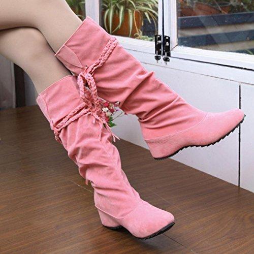 increase Sikye Fringe Boot Boots Thigh Pink Platforms Women Flat Heighten Inner High Bqar8BA