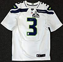 huge selection of 685b2 b12ba SEATTLE SEAHAWKS RUSSELL WILSON AUTOGRAPHED WHITE NIKE ELITE ...