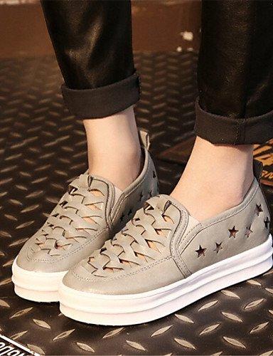 ZQ gyht Zapatos de mujer-Plataforma-Creepers-Mocasines-Exterior / Casual-Semicuero-Negro / Blanco / Gris , black-us8 / eu39 / uk6 / cn39 , black-us8 / eu39 / uk6 / cn39 white-us6.5-7 / eu37 / uk4.5-5 / cn37