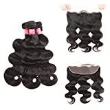 SuperNova Brazilian Body Wave Virgin Hair Weave 3 Bundles with 13x4 Ear to Ear Full Lace Frontal Closure Unprocessed Human Hair Extensions Natural Color(20 22 24+16inch)