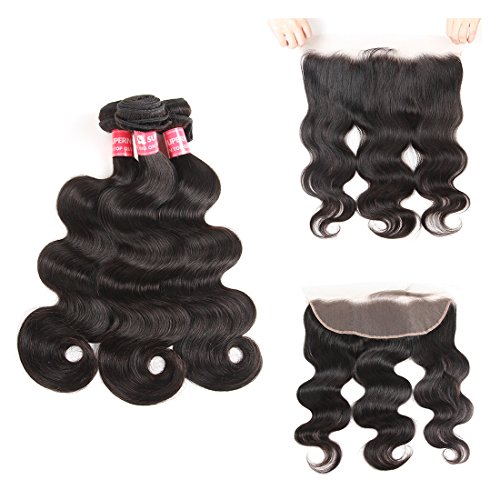 SuperNova Brazilian Body Wave Virgin Hair Weave 3 Bundles with 13x4 Ear to Ear Full Lace Frontal Closure Unprocessed Human Hair Extensions Natural Color(16 18 20+12inch) by Supernova