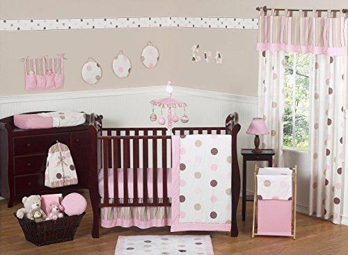 Sweet Jojo Designs 11-Piece Contemporary Pink and Brown Modern Polka Dot Baby Girl Bedding Crib Set Without Bumper (Pink And Brown Polka Dot Nursery)