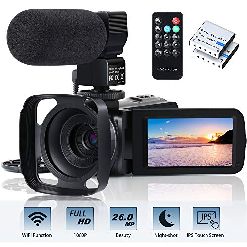 Video Camera Camcorder WiFi FHD 1080P 30FPS 26MP YouTube Vlogging Camera 16X Digital Zoom 3.0″ Touch Screen Digital Camera Video Recorder with Microphone Remote Control Lens Hood Infrared Night Vision