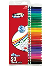 أقلام تلوين قابلة للغسل سوبر تيب بألوان متنوعة من روز آرت، عبوة من 100 قطعة 50-Count