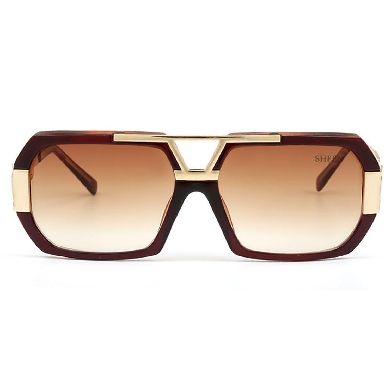 Retro Rechteckig Sonnenbrille Damen Herren Metall Brillen Gold Herren Square Aviator Brille 1gCsLI