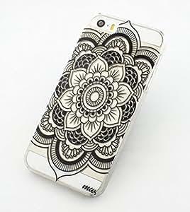 iPhone 5C Case Clear Plastic Case Cover (Henna Full Mandala tribal dream catcher mayan aztec)