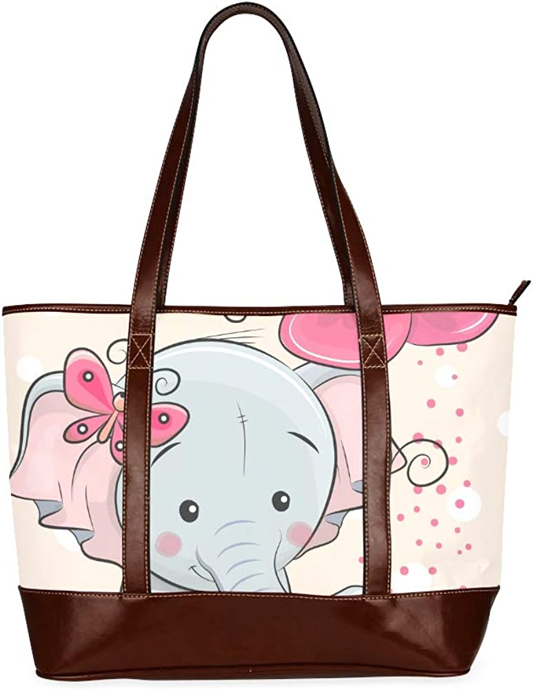 Tote Bags Greeting Card Elephant Flower On Pink Travel Totes Bag Fashion Handbags Shopping Zippered Tote For Women Waterproof Handbag