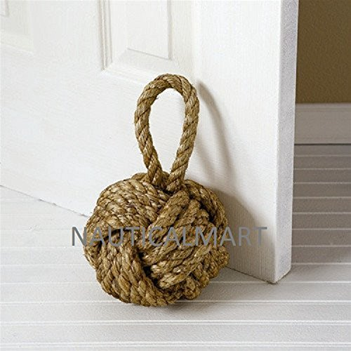 Rope Monkey Fist - NauticalMart Decorative Knot Jute Rope Door Stopper Or Bookend Design