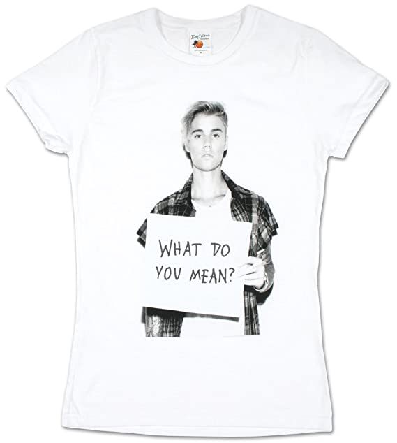 b062381a2 Amazon.com: Bravado Justin Bieber What Do You Mean Junior Women's T ...