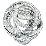 de Grisogono 18K White Gold Full Diamond Tangled Swirl Ring