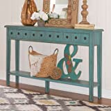 Cheap Powell Furniture 16A8213T Sadie Teal Long Console Table