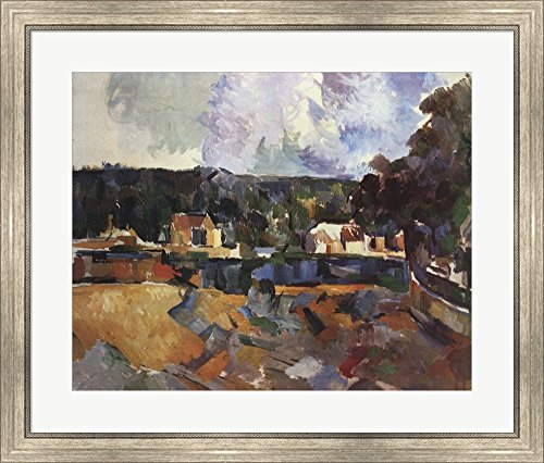Landscape by Paul Cezanne Framed Art Print Wall Picture, Silver Scoop Frame, 31 x 27 inches