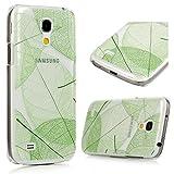 Samsung Galaxy S4 Mini I9190 Hülle PC Hartes Case Lanveni Hardcase Transparant Durchsichtig Handyschale Schutzhülle Handycover Tasche Etui_Muster:Blatt
