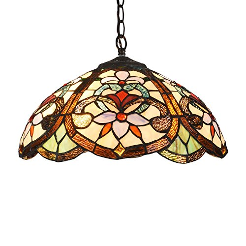 Docheer Tiffany Style Floral Victorian 2-Light Ceiling Pendant Lamp Fixture 16.3-Inch Shade Hanging Swag Lights Lighting, Multi-Colored