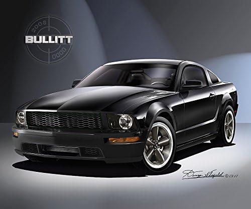"""Black Mustang car Mini Poster 24/"""" x 36/"""""""