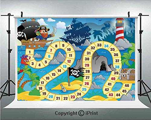 Board Game Photography Backdrops Ghost Ship with Pirates Lighthouse Tropical Island Waters Buccaneer Ocean Palms,Birthday Party Background Customized Microfiber Photo Studio Props,8x8ft,Multicolor