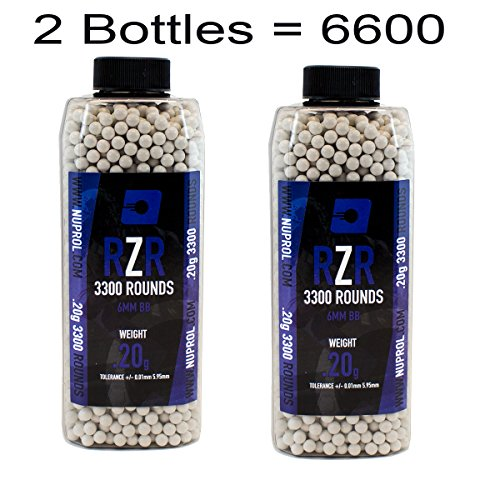 Nuprol Airsoft RZR BB's 6600 (2 Bottles) 0.2G 6mm Highly Polished 5.95mm