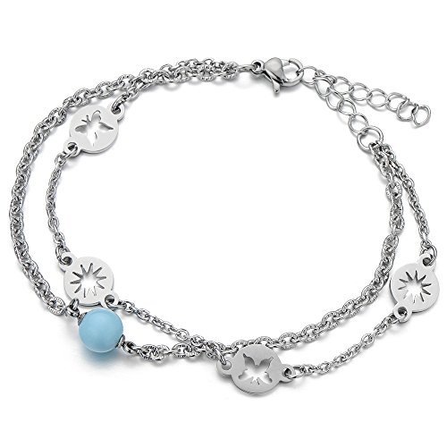 Stainless Double Anklet Bracelet Butterfly