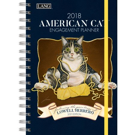 "LANG - 2018 Spiral Engagement Planner - ""American Cat"" - Artwork By Lowell Herrero - 12 Month by Week or Month - 6.25"" x 9"""