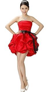 fb20078cb31 drasawee Trägerlos Empire Kurz Bridesmaid Ball Party Kleid Junior Heimkehr  Kleider Rot