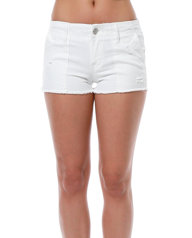 Klique B ShopPiin White Denim Frayed Hem Slant Hip Pockets