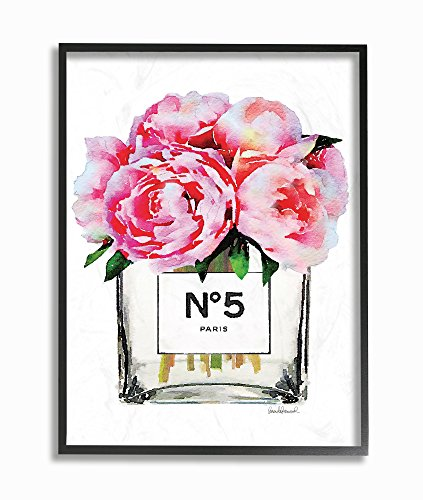 Stupell Industries Glam Paris Vase with Pink Peony Framed Giclee Texturized Art, Proudly Made in USA (Framed Peony)