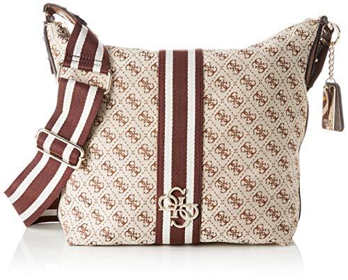 Guess Guess Vintage Hobo, Women's Shoulder Bag, White (Brown), 41x32x15 cm (W x H L)