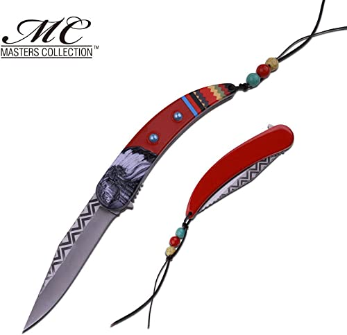 New Spring-Assist Folding ProTactical Limited Edition Elite Knife Native American Silver Stainless Steel Blade Red