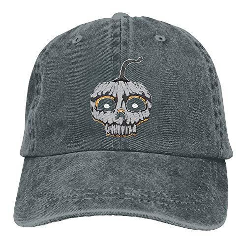 Halloween Pumpkin Denim Hat Adjustable Unisex Plain Baseball Caps -