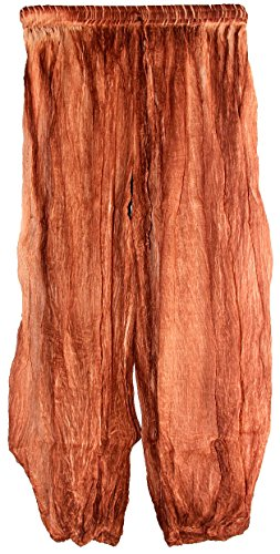 Highwaypay Indian Crinkled Gauze Cotton Bohemian Gypsy Hippie Boho Tie Dye Yoga Pants 2714 Brown