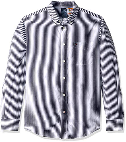 Tommy Hilfiger Men's Adaptive Magnetic Long Sleeve Button Down Shirt Custom Fit, Peacoat Striped, Medium