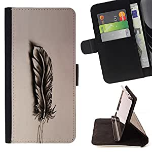 BullDog Case - FOR/Sony Xperia Z1 Compact D5503 / - / feather drawing pencil art bird shadow /- Monedero de cuero de la PU Llevar cubierta de la caja con el ID Credit Card Slots Flip funda de cuer