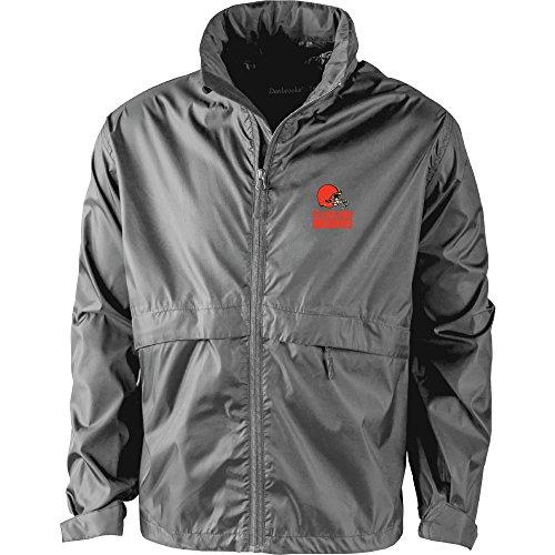 NFL Cleveland Browns Men's Sportsman Waterproof Windbreaker Jacket, Graphite, large