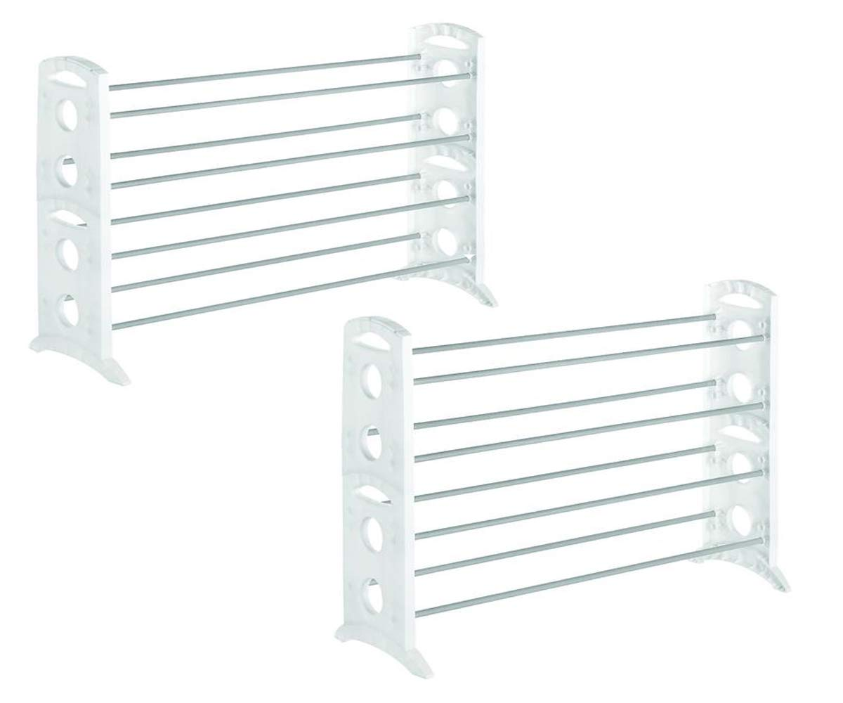 MS Home 2 Sets of 20 Pair Shoe Racks Holder Organizer for Storage and Organization - with Adjustable width for Various Closet Sizes - 12'' L x 35.5'' W x 26.5'' H in White