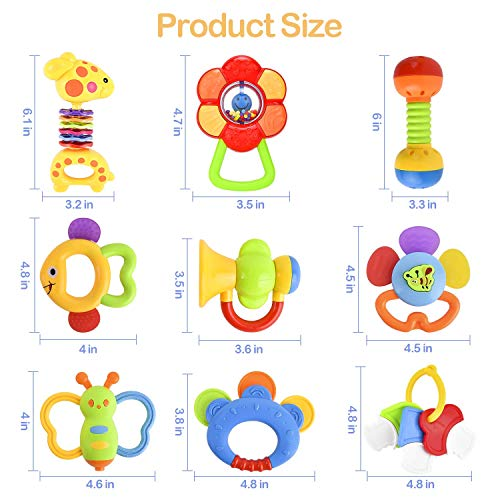GotechoD Baby Rattles Teether Rattle Set,Shaker Grab Rattle Baby Infant Newborn Toys Early Educational Toys for 3 6 9 12 Month Boys Girls Baby Gifts