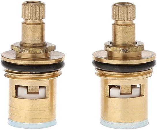 fivekim 2 Pcs Robinet De Remplacement en Laiton 1,4 Tour G1,2 C/éramique Disque Cartouche Chaud Froid Robinet Robinet Robinet Interrupteur Bobine