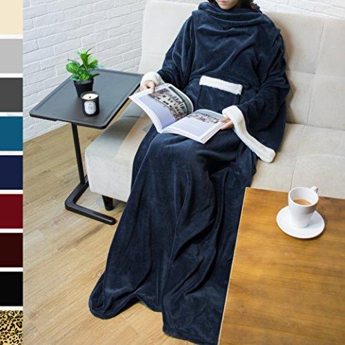 PAVILIA Deluxe Fleece Blanket with Sleeves for Adult, Men, and Women| Elegant, Cozy, Warm, Extra Soft, Plush, Functional, Lightweight Wearable Throw (Navy) (Deluxe Fleece)