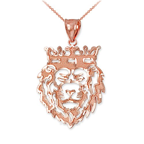 Hip-Hop Jewelry by LA BLINGZ 14K Rose Gold Lion King DC Charm Necklace (18.0) by Hip-Hop Jewelry by LA BLINGZ
