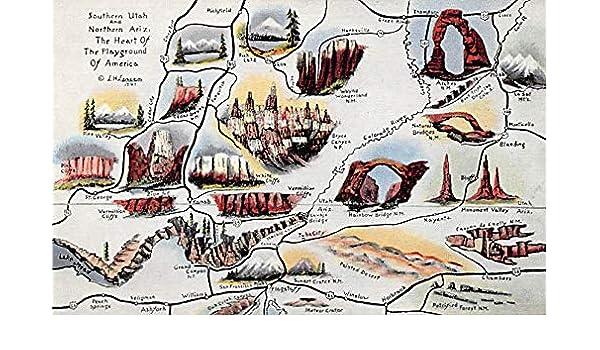 Maps Southern Utah And Northern Arizona Usa Unused At