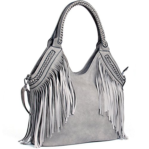 267307564a 1 · JOYSON Women Handbags Hobo Shoulder PU Leather Fashion Bag Tassels Gray