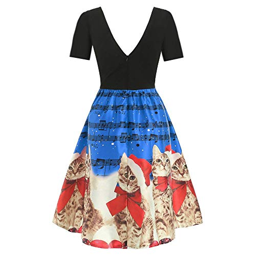 White Pearls Pink Coral Necklace - Wobuoke Women Vintage Christmas Cats Musical Notes Print Short/Long Sleeve Xmas Flare Dress Skirt