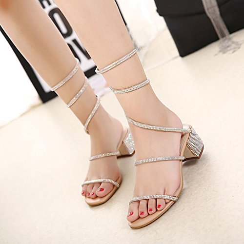 Shoes Low Dress Wrap Ankle Yiuoer Nude Shiny Gladiator Heel on Rhinestone Crystal Comfortable Sandals Women Royou Slip tvwArvqHO