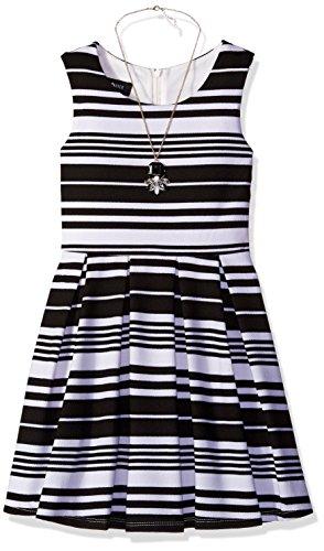 Amy Byer Girls' Big Sleeveless Fit & Flare Dress with Box Pleats, Black/White Stripe, 8]()